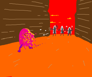 A pink splash(?) being shot by three bullets