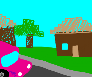 Car driving in a really block-y town