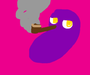 Jelly bean smokes a pipe