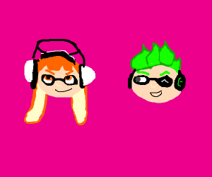 Heads of inkling girl and boy