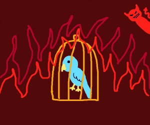 bird caged in hell