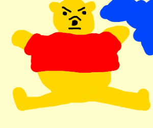 pooh bear being annoyed by blue thing