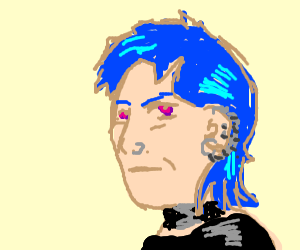 Older punk woman with blue hair and piercing