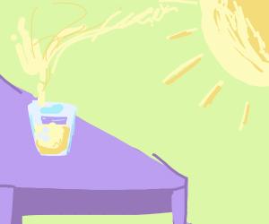 Sun evaporating lemonade from lemonade stand