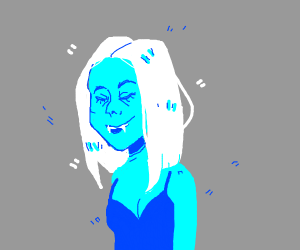 Blue skinned, white haired woman with fangs