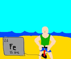 pumping iron on the beach