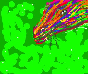 Rainbow dragon feeds on forests