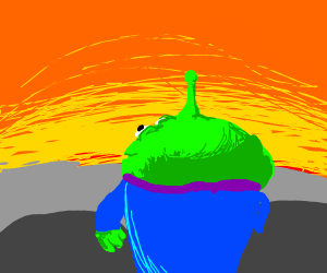 Martian from toy story watching sunset
