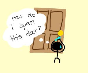 Person trying to unlock door