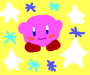 kirby surrounded by stars and asterisks