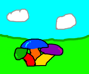 coloured mushrooms