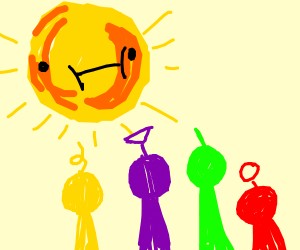 A sun and 4 people