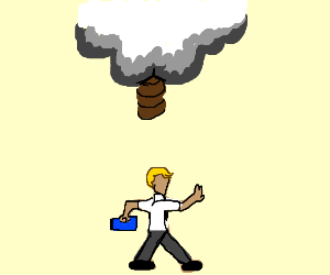 cloud with a butt pooping and a guy walking
