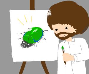 Bob Ross painting a bug