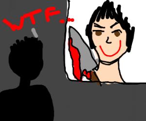 Man says wtf to horror movie