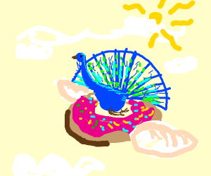 Peacock flying with a Doughnut