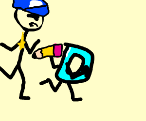Drawception running from cops