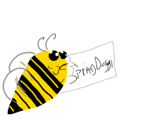 Bee eating page that have SpringDoggi written