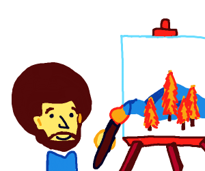 small bob ross paints on a giant canvas
