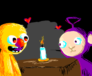 Yellmo and Tinkie Winkie on a date
