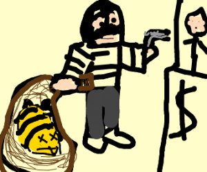 Man has dead bee in bag while robbing bank
