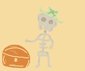 Pirate skeleton with his treasure