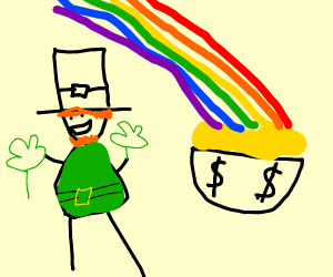 leprechaun next to pot of gold