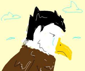 a bald eagle cries because it got hair