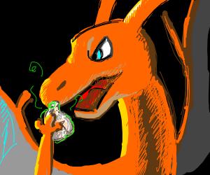 Charizard eats garlic