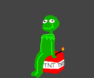Kermit sitting on  TNT box