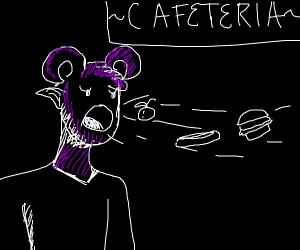 Purple Demon Inhales Food at Cafeteria