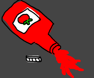 Ketchup bottle being emptied