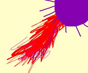 Purple sun with L A Z E R