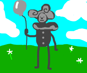 Gray clown in colorful meadow