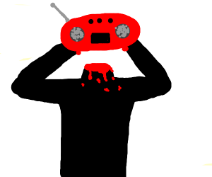 decapitated man holding massive radio