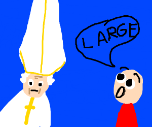 the pope's hat is really large