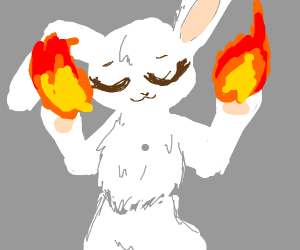 bunny with fire