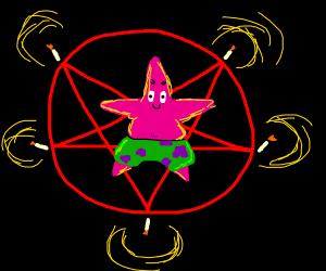 Patrick Star in a pentagram