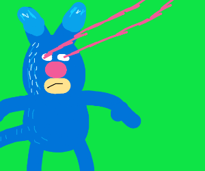 blue cat with laser eyes