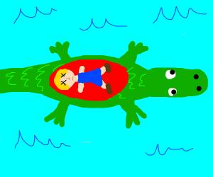 Dead inside alligator