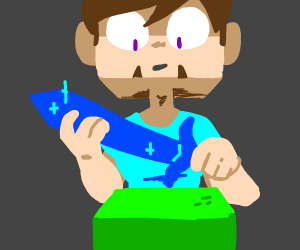 steve with diamond sword about to kill someon