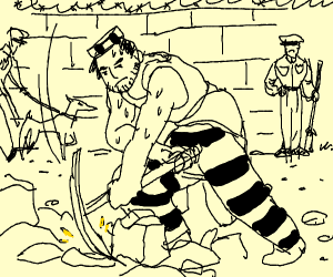 prisoner with pickaxe