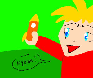 Anime child plays with a rocket ship