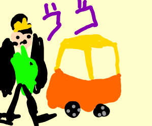 Jotaro Kujo riding in one of thos lil toy car