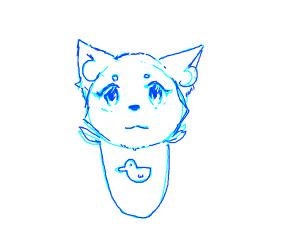 blue baby wolf with binkie