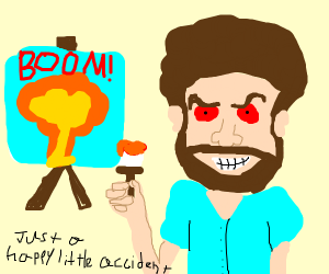 Bob Ross painting an explosion