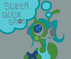 Gamer alien girl thinks about smash bros