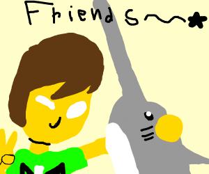 man befriends a swordfish