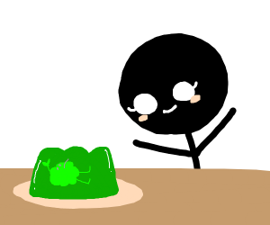 woman is excited to eat green jello