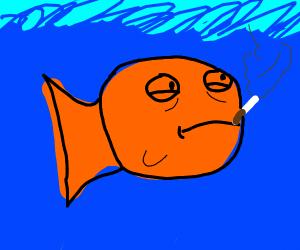 depressed smoking fish